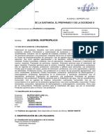 Alcohol isopropilico FDS