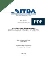 P284 - Industrialización de La Alfalfa Para Exportación Una Oportunidad Para Argentina