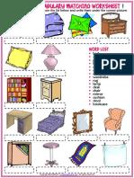 Bedroom Vocabulary Esl Matching Exercise Worksheets for Kids