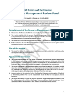 Draft Terms of Reference - Comprehensive Review of Resource Management System
