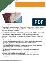 Cambio Di Residenza, Documenti Necessari - Lifestyle Agenzia Di Stampa Italpre