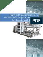 Diseño de Planta de tratamiento con osmosis inversa Costa Atlantica de Nicaragua