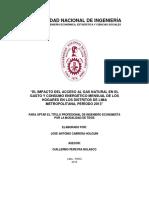El Impacto Del Acceso Al Gas Natural en El Gasto y Consumo Energético Mensual de Los Hogares en Los Distritos de Lima Metropolitana[1]