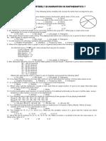 Fourth Quarterly Examination in Mathematics 7