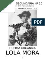 Proyecto Huerta Organica Escuela Secundaria Lola Mora