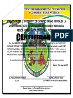 Certificado de La Municipalidad de Paucara