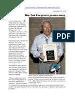 Hopi Code Talker Rex Pooyouma Passes Away