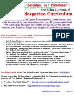 Upper Kindergarten Curriculum