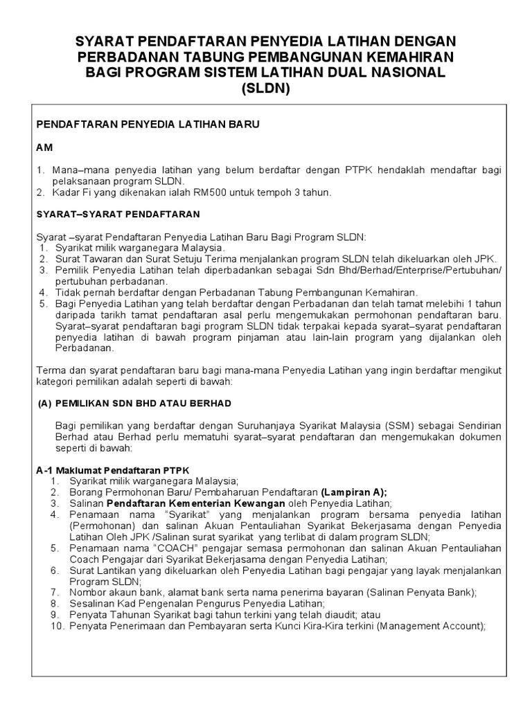 Borang Permohonan Pendaftaran Penyedia Latihan Bagi Program Sldn Ptpk