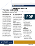 Fact Sheet 29 Advice on Private Motor Vehicle Imports