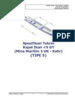 05. Spesifikasi Teknis Kapal Ikan 3 GT Tipe U - Dengan Katir (TIPE 5).pdf