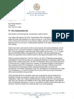 Scott Stringer Letter on MTA Reorganization