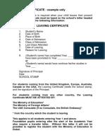 Sample Transfer Certificate