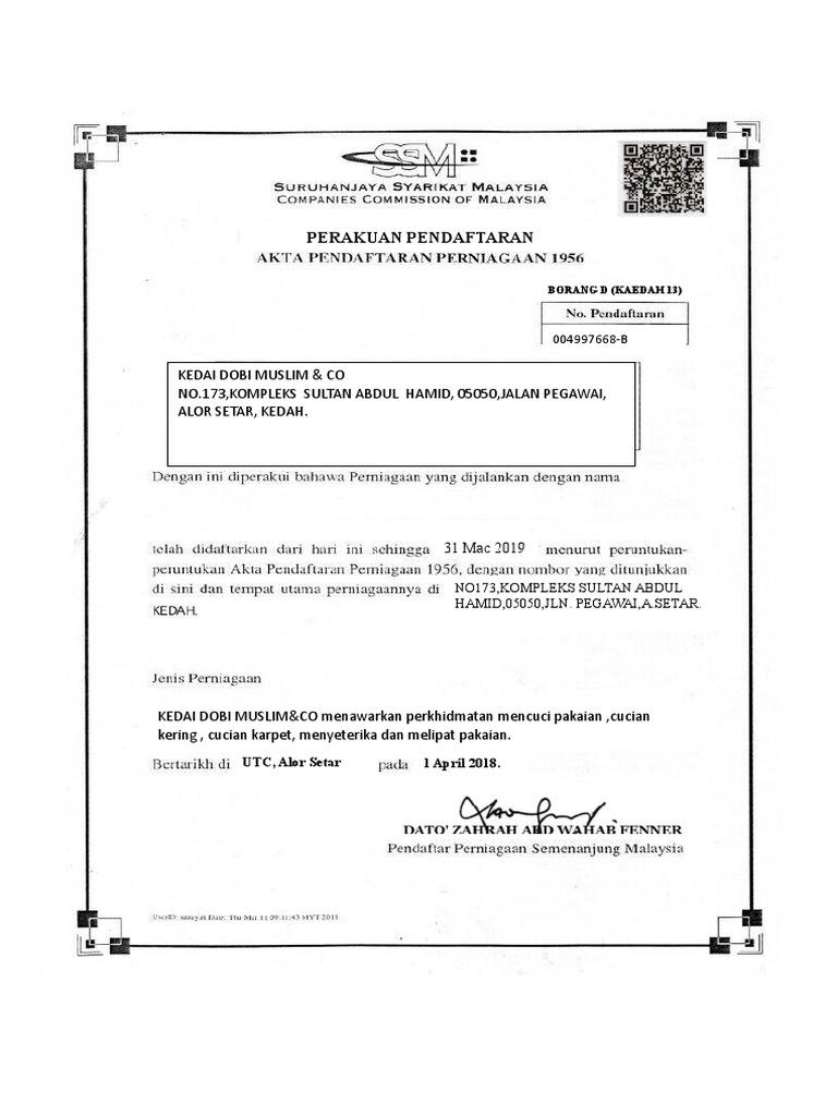 Borang D Ssm Kosong Docx