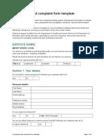 Template Form Compliments and Complaints Management