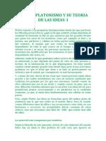 PLATON PLATONISMO Y SU TEORIA DE LAS IDEAS  I.docx