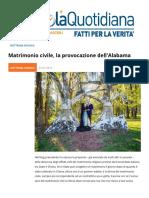 Matrimonio Civile, La Provocazione Dell'Alabama