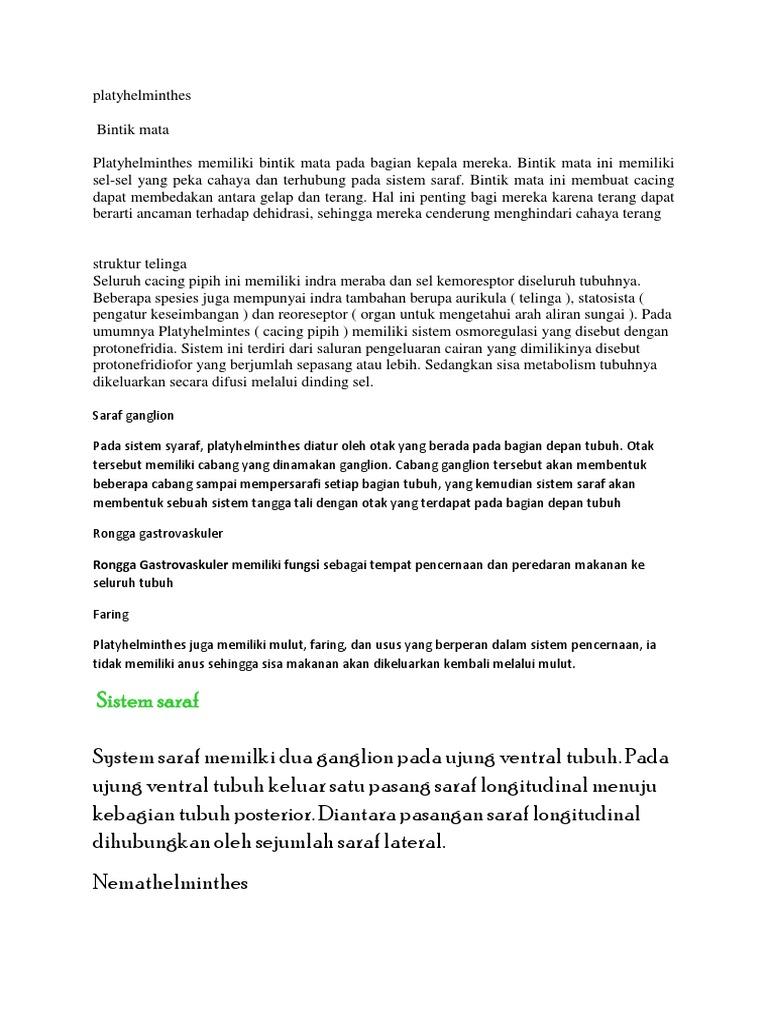 Rongga gastrovaskuler pada platyhelminthes, Cacing platyhelminthes. ppt, Helminták teszt