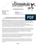 Advertising Performed Press Release