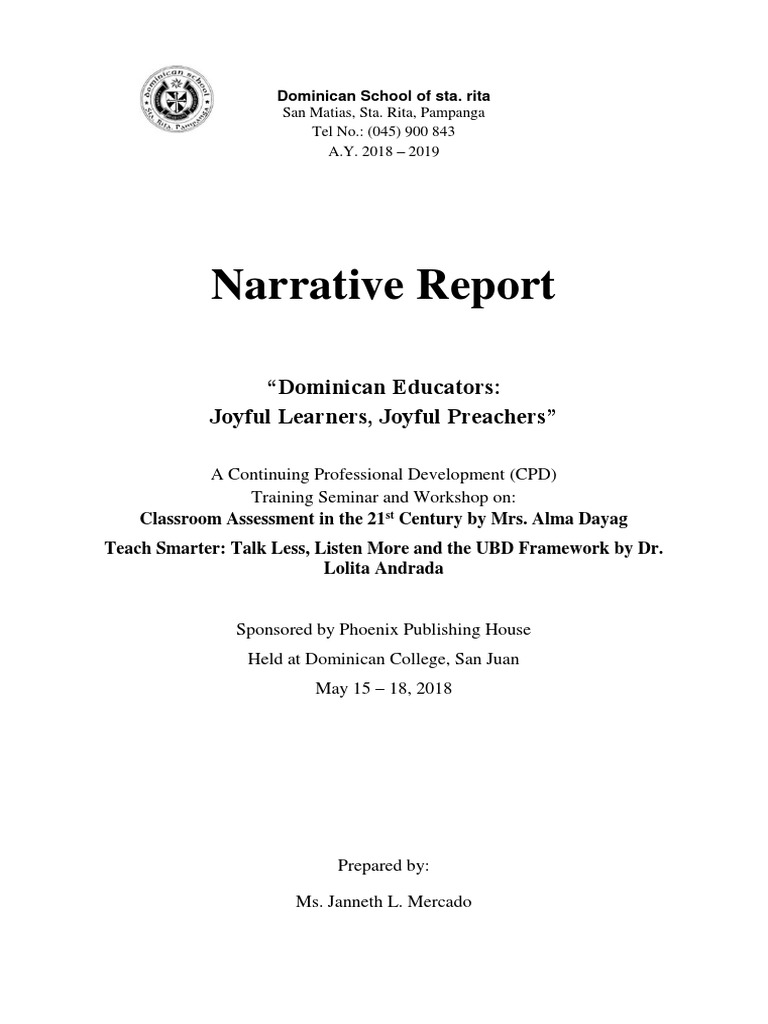 Narrative Reports On Seminar Attended  Classroom Management
