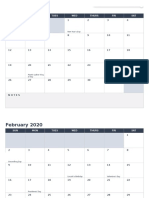 IC 2020 Printable Monthly Calendar Landscape 8512