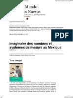 """J.-C. Hocquet, reseña """"Metros, leguas y mecates. Historia de los sistemas de medición en México"""", Héctor Vera, V. García Acosta."""