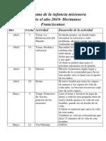 Infancia Misionera Cronograma 2018