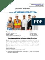 Fundamentos de La Supervisión Efectiva - Información Del Taller Presencial Teorico Practico