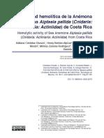 Actividad hemolítica de la Anémona Marina Aiptasia pallida