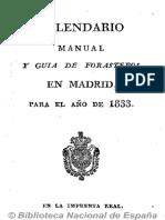 Kalendario manual y guía de forasteros en Madrid. 1833
