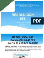 Resolución 058 Presentacion Zona