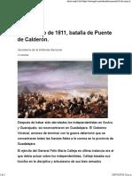 16 de Enero de 1811, Batalla de Puente de Calderón