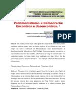 Patrimonialismo e Democracia - Encontros e Desencontros - Humberto Schubert Coelho