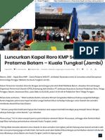 Luncurkan Kapal Roro KMP Satria Pratama Batam - Kuala Tungkal (Jambi) - Indah Suara News