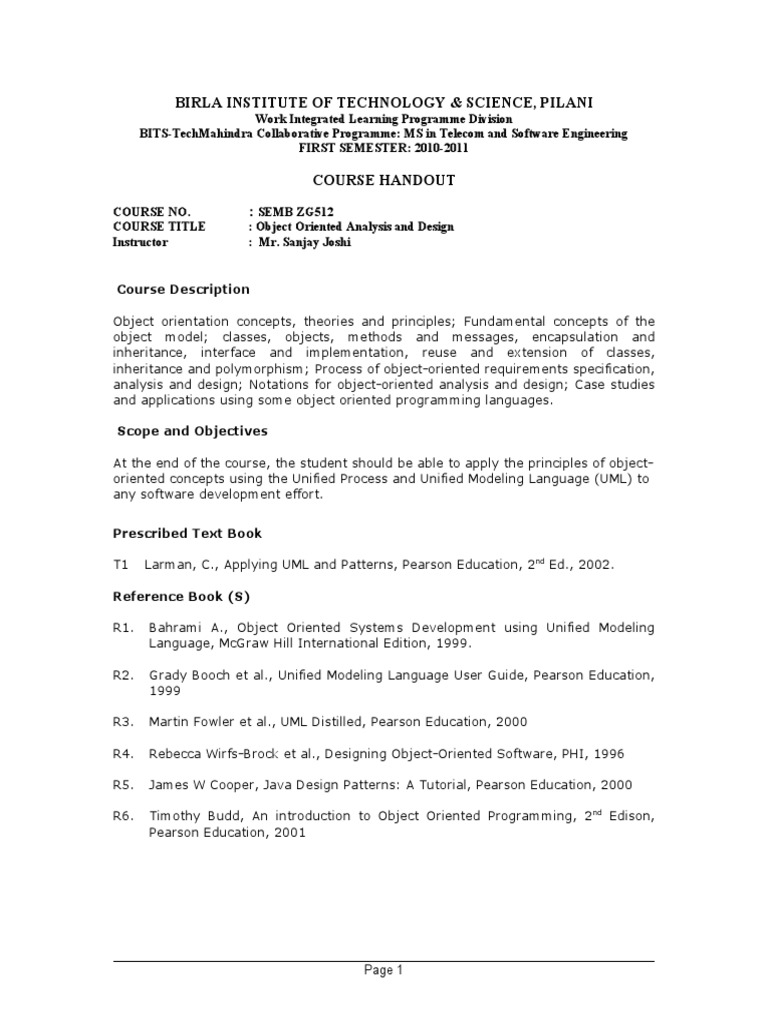 Object Oriented Analysis And Design Semb Zg512 Object Oriented Programming Object Computer Science