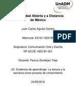 JUAN_AGUILAR_SP-SCOE-1602-B1- 001_ U3. Evidencia de Aprendizaje_La Lectura y Escritura Como Proceso de Conocimiento