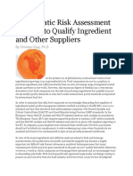 A Pragmatic Risk Assessment Strategy to Qualify Ingredient and Other Suppliers