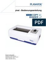 Thermobindegerät Planax Copy Binder 5 Bedienungsanleitung