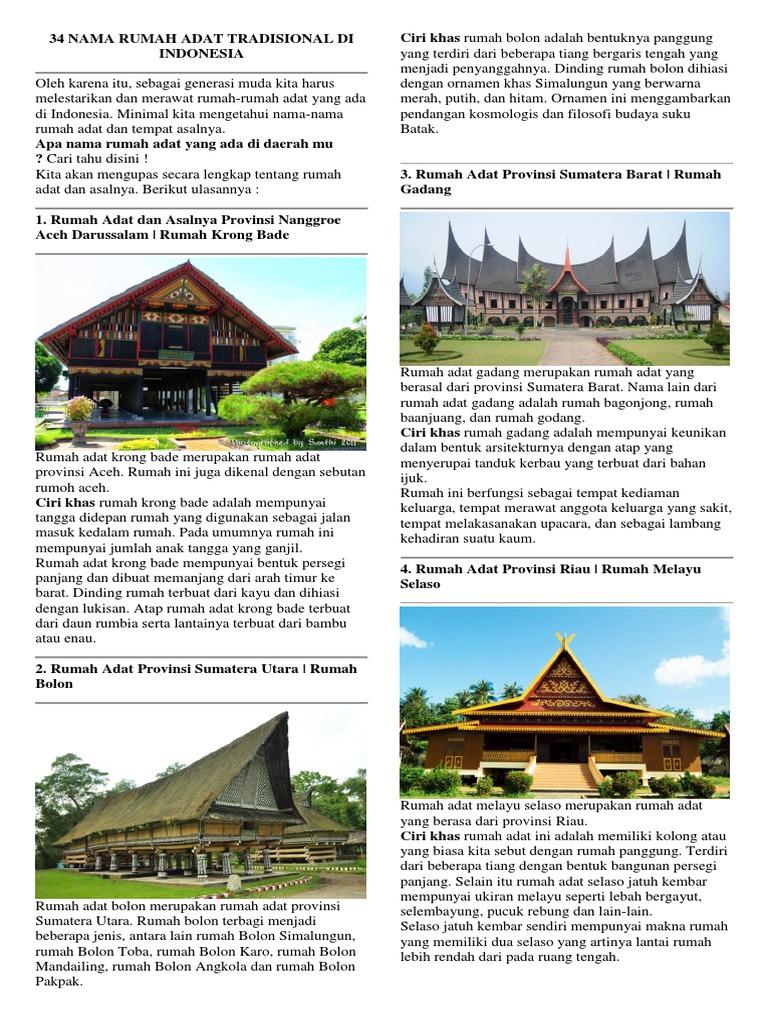 34 Nama Rumah Adat Tradisional Di Indonesia