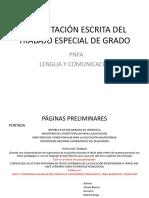 Presentación escrita del Trabajo Especial de Grado PNFAE Lengua y Comunicación