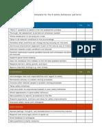 Behavioral Safety Observations Table