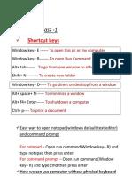 Shortcut keys for windows