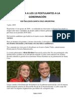 Conozca a Los 13 Postulantes a La Gobernación de la Provincia de Santa Cruz, Argentina
