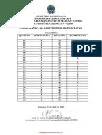 gabarito assistente administrativo UFPI