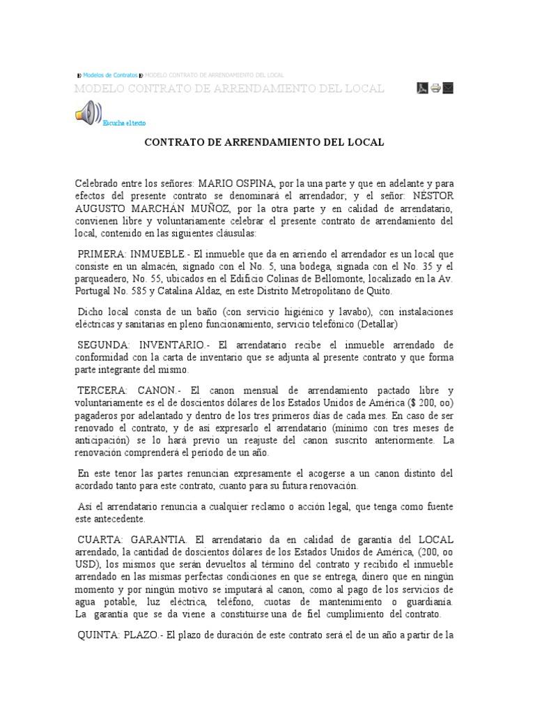 Modelo De Contrato De Arrendamiento En Ecuador