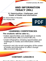 8. Media and Information Literacy MIL Opportunities Challenges and Power of Media and Information