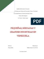 Pequeñas,Medianas y Grandes Industrias en Venezuela