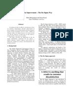 Quality Improvement the Six Sigma Way