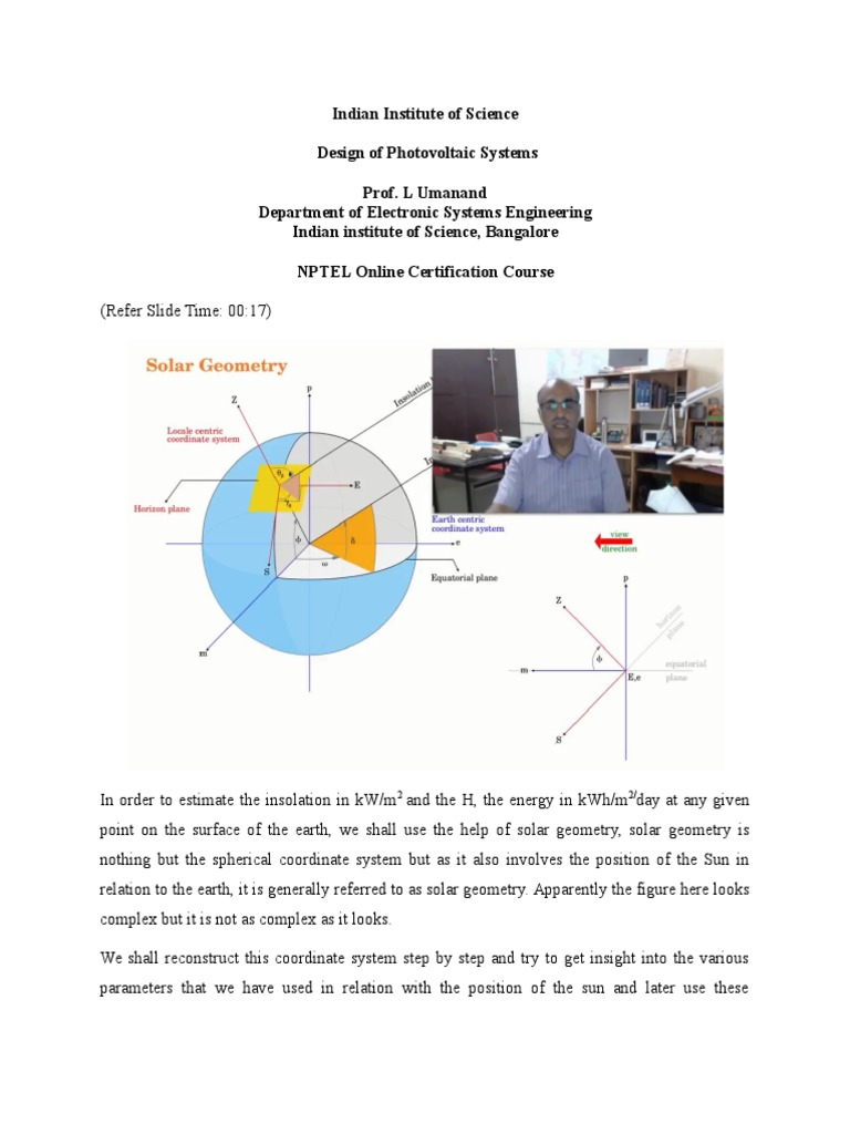 Indian Institute Of Science Design Of Photovoltaic Systems Prof L Umanand Department Of Electronic Systems Engineering Indian Institute Of Science Bangalore Nptel Online Certification Course Latitude Equator Free 30 Day Trial Scribd