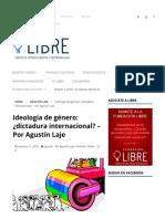 Laje, Agustín -Ideología de Género_ ¿Dictadura Internacional